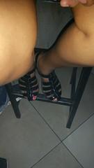 Black patent strap platform sandals. #footfetish #shoeporn (ARTHENTIC) Tags: shoeporn footfetish sexylegs sexyfeet