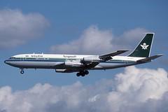 HZ-HM3 LHR 3-9-1988 (Plane Buddy) Tags: hzhm3 boeing 707 707320c saudia saudi government heathrow lhr egll