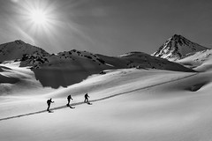 Walk the Line (philippm86) Tags: gebirge grosglockner skitour ski berg mountain mountainn mountaineering bergsteigen sony rx100 sw black white bw sunn snow winter