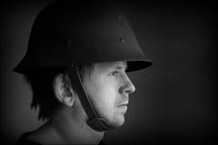 Ready for battle? (*Kicki*) Tags: johan man person face profile helmet portrait people sweden analog film agfa minolta minoltadynax600siclassic agfahdc200plus2 ffp finafotopolare oldschool expired expiredfilm wwii minoltaafzoom3570mm14macro windowlight