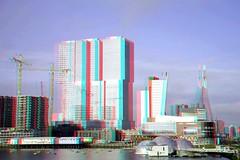 Kop van Zuid Rotterdam 3D (wim hoppenbrouwers) Tags: kopvanzuid rotterdam 3d rijnhaven anaglyph stereo redcyan sax
