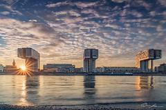 Triplets (ColognePhotograph) Tags: kranhäuser architecture architektur panorama city cityscape sunset houses water reflections reflektionen spiegelung sky clouds triplets cologne köln rheinauhafen