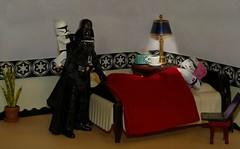Napping on the Death Star (ChicaD58) Tags: dscf7889f actionfigure starwarsactionfigure clonetrooper darthvader lego stb stormtrooperbruce palpatinesnephew plant endtable lamp tissue coffeecup bed pillow blanket laptop weapon napping pretending