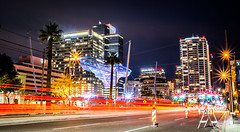 Phoenix Arizona by night (DST-photography) Tags: phoenix downtown city skyscraper buildings night long exposure moon black white bw boeing portrait cars lights light d7100 sigma 1750mm town asu university arizona usa america chandler roadworks daan steinhaus dstphotography aviatioin