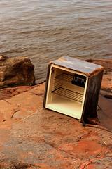 fridge (Res80) Tags: sea urban abandoned broken rock coast fridge rust ruins industrial away down explore forgotten shore fallen collapse waste exploration throw urbex kruunuvuori