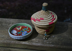 Still Life Treasures (BKHagar *Kim*) Tags: wood cowboy pin basket treasure sale deck rhinestone estatesale bkhagar