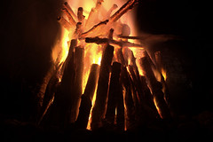 lilac log fire 1 (Justin van Damme) Tags: wood orange night fire logs resort manitoba burning lilac pile