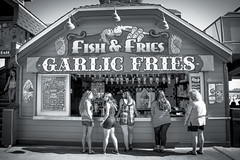 Zombies lining up for Fish & Fries in Santa Cruz, California. (Suitable 4 Framin') Tags: california santacruz cali legs zombies fishandchips fishchips santacruzboardwalk garlicfries whitegirls fishfries