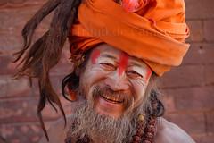 Sadhu, Bhaktapur, Nepal (Bertrand de Camaret) Tags: nepal portrait orange man hair asia ngc asie turban homme visage nationalgeographic bhaktapur sadu cheveux chevelure religieu horizontale sourrir bertranddecamaret
