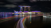 Marina Bay Sands and Boat Trails (20161230-DSC00313-Edit) (Michael.Lee.Pics.NYC) Tags: singapore marinabay mbs marinabaysands jubileebridge tourboats lighttrails night longexposure reflection architecture cityscape waterfront sony a7rm2 zeissloxia21mmf28