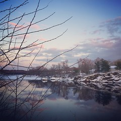 349/366 (grilljam) Tags: iphone winter december2016 snow ice river dusk 366days maine theperfectplacetobeindecember pinkclouds skyreflection