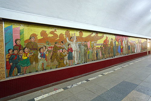 Mosaics on the wall of Pyongyang Metro, North Korea