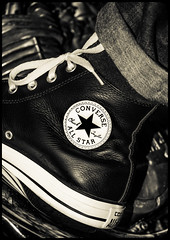 All Star Converse. High Tops. (CWhatPhotos) Tags: leather boot boots cwhatphotos pair foot wear ox shoes olympus omd lens camera photographs photograph pics pictures pic picture image images foto fotos photography artistic that have which contain all star allstar converse chuck chucks allstarhi high hitop hitops hi top tops logo product badge allstars stars 1979 classic yamaha 650 us custom special xs650 motorcycle bike biker tint footwear