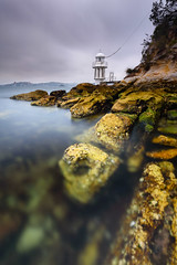 Above or Below (Rodney Campbell) Tags: water lighthouse cpl gnd09 sunrise rocks cremornepoint clouds newsouthwales australia au