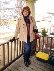 A Typical Milwaukee Woman Shopper (Laurette Victoria) Tags: jeans boots coat aubrun gloves purse glasses laurette milwaukee kerchief