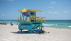 Miami South Beach, Florida (Abhi_arch2001) Tags: miami south beach florida usa united states america sand sun heat summer noon afternoon sea water turquoise vacation surf blue baywatch lifeguard kiosk booth bicycle yellow flag watch safety coast