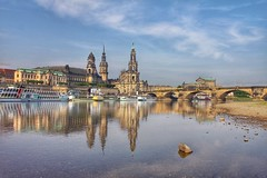 Dresden on the Elbe. (joseph_donnelly) Tags: bridge church stone reflections river dresden opera towers fluss elbe semperoper bücke