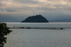 Chikubu-jima island in the evening, Lake Biwa, Shiga /  (Kaoru Honda) Tags: sunset green nature rain june japan landscape japanese evening nikon      earlysummer shiga nagahama freshgreen 6      lakebiwa     chikubujima  d7000  okubiwako