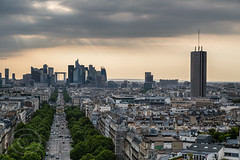 Paris June 2015 077 - Moody light over La Défense - From the Arc de Triomphe (Mark Schofield @ JB Schofield) Tags: street city paris france tower bike seine kids champselysees boat boulevard traffic candid arc triomphe scooter eiffel tourist telescope commute champdemars montparnasse financial defense selfy haussman migrants