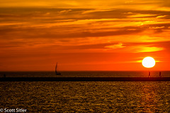 Lake Michigan Sunset (Scott Sitler) Tags: sunset beach sailboat pier michigan breakwall ludington dockbay simplysuperb