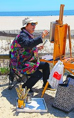 IMG_2186 Local Artist (Cyberlens 40D) Tags: canon painting women scenery artist creative nj hobby painter brushes capemay local talented easel paints