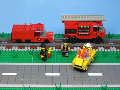 Rail Fire Trucks (dr_spock_888) Tags: lego moc trains city fire trucks car firemen 4 wide narrow gauge