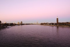 The River Rhine at Evenfall taken from the railway bridge leading to the Cologne Hauptbahnhof. Thanks to Reiner for leading the way! (Raphael de Kadt) Tags: cologne river rhine reiner sunset evenfall eveninglight evening germany hohenzollernbrücke hohenzollernbridge