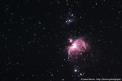 The Orion Nebula (M42) & The Running Man Nebula (NGC 1973/5/7) (J. Brown Photography) Tags: james brown photography canon 700d modded skytracker ioptron nebula stars astrophotography astronomy great orion m42