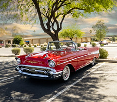 1957 Chevy (Edward Saksenhaus RPh.) Tags: car auto vehicle transport transportation vintage old travel road street chevy chevrolet belair red white convertible usa