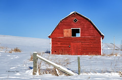 Barn in the snow (Canon Queen Rocks (1,230,000 + views)) Tags: structure structures buildings farm farmland barn red snow winter frozen frost fence landscape landscapes alberta canada priddus