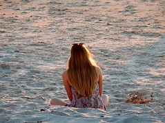 Solo Reflection (mikecogh) Tags: glenelg sunset woman alone sand longhair reflection thinking