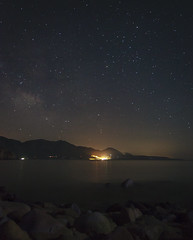 The Shores of the Cosmic Ocean (AndreasN) Tags: ocean sardegna travel sky italy seascape beach nature night canon way stars landscape europe long exposure sardinia angle outdoor wide astrophotography 5d milky