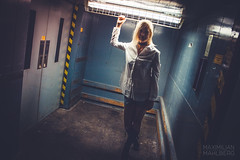 Andrea Elevator (Maximilian.M) Tags: industrial frankfurt elevator daughter perspective mother headlight dragging