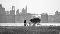 Oakland (Tony P Iwane) Tags: sanfrancisco blackandwhite bw skyline oakland baybridge sanfranciscobay sanfranciscoskyline middleharborshorelinepark nikkor300mmf45edifais oaklandnotsf