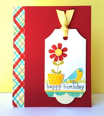 Petite Pots - Happy birthday (The Queen's Scene) Tags: birthday red flower bird yellow handmade teal tag card stamping birthdaycard papercrafts cardmaking papertreyink