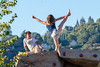 Heel Stetch on Climbing Rock (Kevin MG) Tags: usa or oregon hoodriver playground gymnastics cheer pose climbing girl preteen young youth cute pretty boy boys