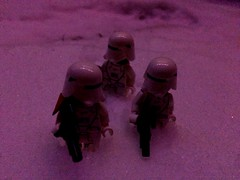 In the spirit of the holidays, Kylo Ren instructed that Starkiller base be decorated with red lights to be both intimidating and seasonal. Through a tragic misunderstanding, the lights turned out pink and one of the officers went missing... (Kay The Warden) Tags: base killer star stormtrooper order first trooper snow lego starwars