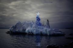 Christmas Magic (karenhunnicutt) Tags: christmas magic lakesuperior northshore minnesota hollowrock winter ice snow christmastree christmaslights karenhunnicutt karenhunnicuttphotographycom