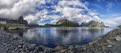 Reine Panorama (marko.erman) Tags: reine lofoten norway moskenesøya sony island archipelo landscape mountains sea clouds panorama nature travel popular pov outside rocks slopes beauty beautiful serene serenity quiet codfish rorbu extérieur architecture