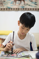 20160730_Caligraphy with Grandpa-17 (kiweep7) Tags: calligraphy brushpen grandparents