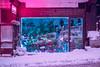 Flowershop (elsableda) Tags: neon flower shop window night light lights colors pink blue snow winter midnight elsa bleda istanbul turkey wonderland road street urban