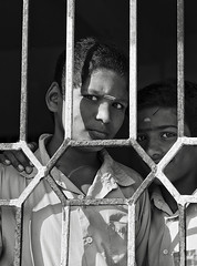 two at the window (Dean Forbes) Tags: india tamilnadu classroomwindow school rural students bw