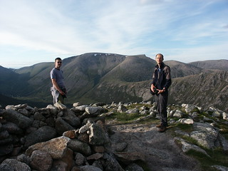 Tony and Huw on the summit of the Devil's Point (1004m), with Ben Macdui behind