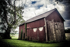 We've Been Here Awhile (Off The Beaten Path Photography) Tags: blue trees red sky tree green abandoned grass clouds barn digital rural canon cloudy country indiana faded forgotten worn dslr abandonment ruraldecay urbex offthebeatenpath canonphotography rurex 60d abandonedindiana