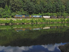 CSX 753 and 439 (Trains & Trails) Tags: railroad reflection water train diesel pennsylvania scenic engine locomotive coal ge 753 generalelectric brightfuture csx fayettecounty 439 youghioghenyriver yn2 ac44cw darkfuture es44ac greatalleghenypassage yn3 widecab southconnellsville u825 trainsporation