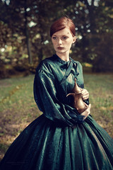 Jo (magdalena.russocka) Tags: light woman sun green garden dress 19thcentury 1800s victorian redhead fairy jug dreamy freckles gown emotional redhair emotions emotive narrative 19th