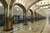 Moscow June-July 2015 (698)r (Funny Cyclist) Tags: train underground metro moscow tiles vault marble escalators tunnels fresco rapidtransit staiirs velonotte