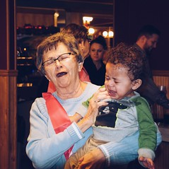You would cry too if you just turned 80. (backbeatb00gie) Tags: grandmother people candid emotions fun greatgrandson vsco nikon surprise party crying child mom