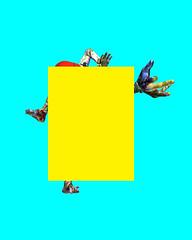 No-8 (Matthew Grandy) Tags: yellow 3d hand feet foot head male model blue cyan red distort obstruction look thin