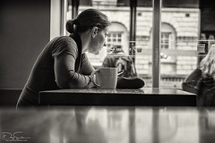 coffee contemplation (Daz Smith) Tags: dazsmith fujixt10 fuji xt10 andwhite bath city streetphotography people candid canon portrait citylife thecity urban streets uk monochrome blancoynegro blackandwhite mono coffee shop window contemplate looking cup reflection